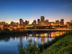 Edmonton downtown, James Macdonald Bridge and the Saskatchewan River at night