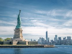 The statue of Liberty and Manhattan, New York City