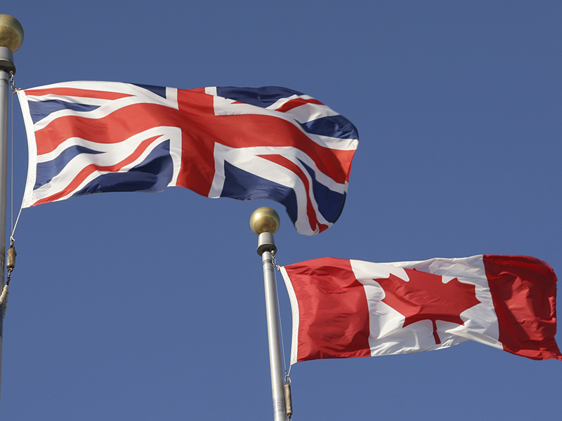 Canadian and British Flags