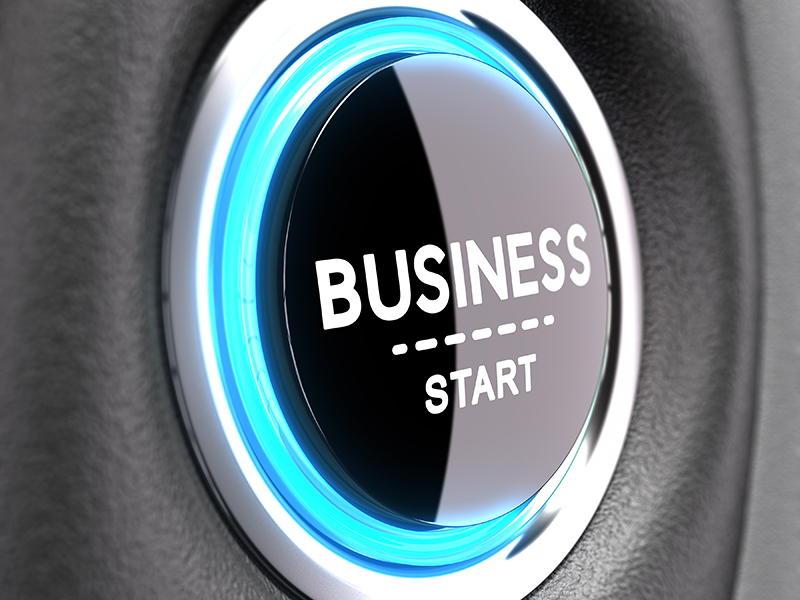 Blue Push button with the phrase business start. Concept image to illustrate new business