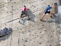 climbing on an artificial training wall