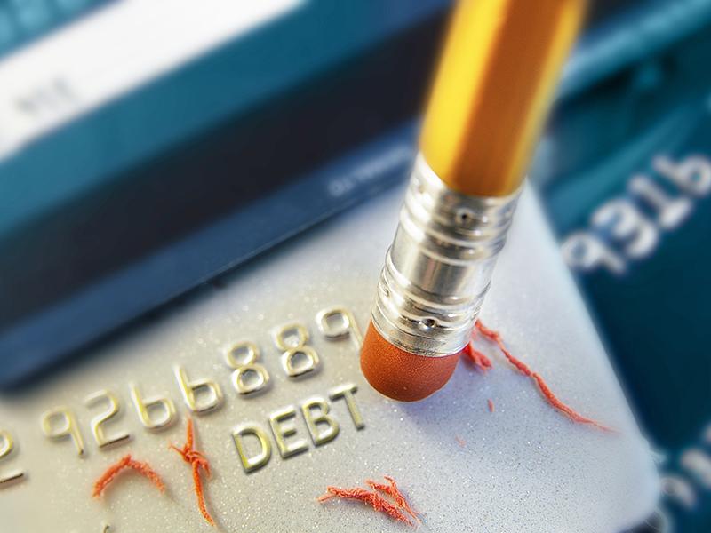 pencil erasing credit card debt