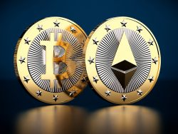 Two golden coins - Bitcoin and Ethereum