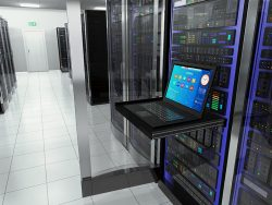 terminal monitor screen display in server room with server racks in datacenter interior
