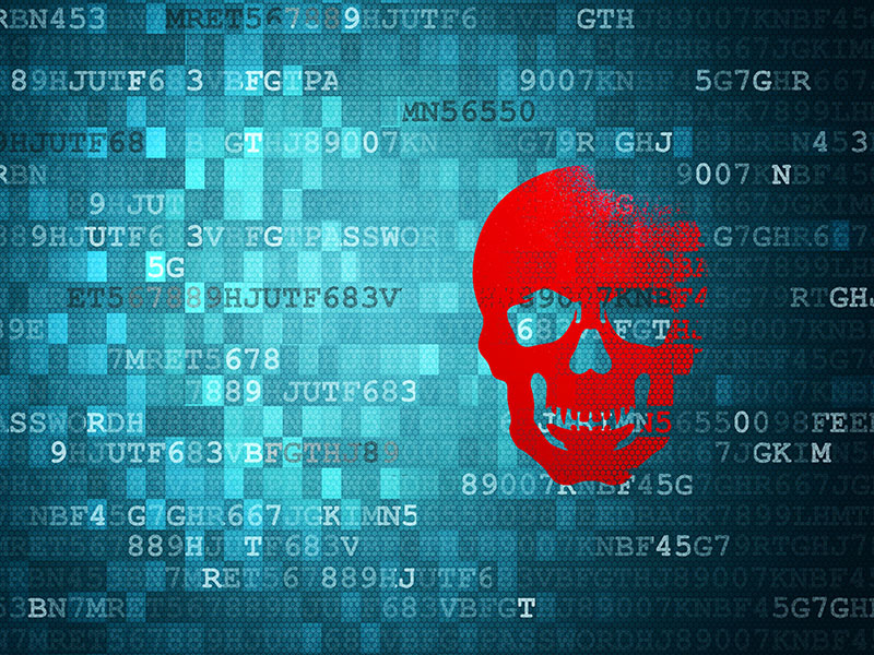 Skull on blue digital background. security concepts