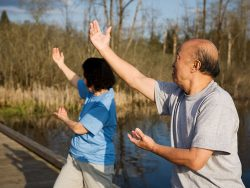 A shot of a senior asian couple doing tai-chi exercise