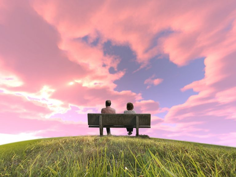 Old couple on hill
