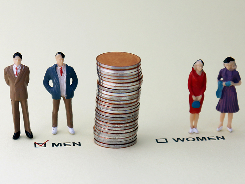 MEN and WOMEN check boxes with red check mark in the MEN box. The concept of gender discrimination in promotion.
