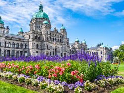Beautiful view of historic parliament building in the citycenter of Victoria