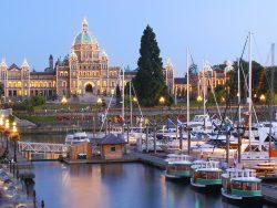 Parliament building illuminated at dusk, Victoria, British Columbia