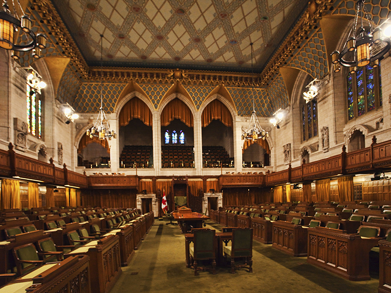 Interior view of the Canada Commons of Parliament, Ottawa