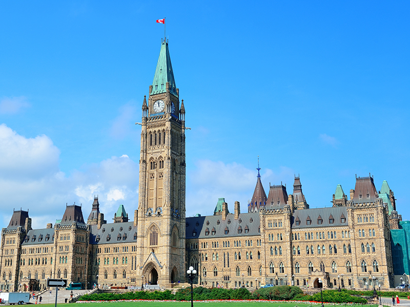 Parliament Hill building closeup in Ottawa, Canada