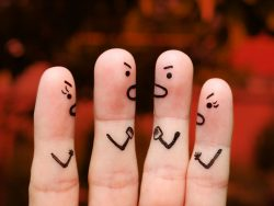 Finger art of people during quarrel