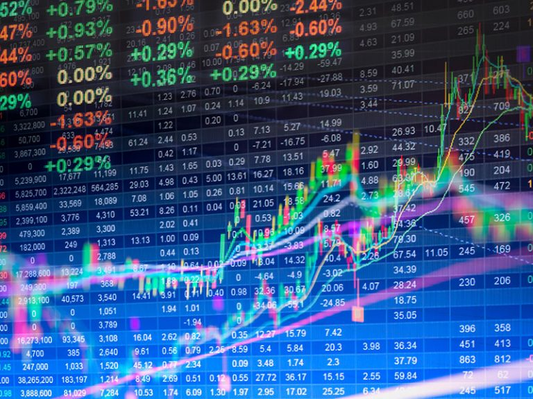 Financial data on a monitor—Stock market data on LED