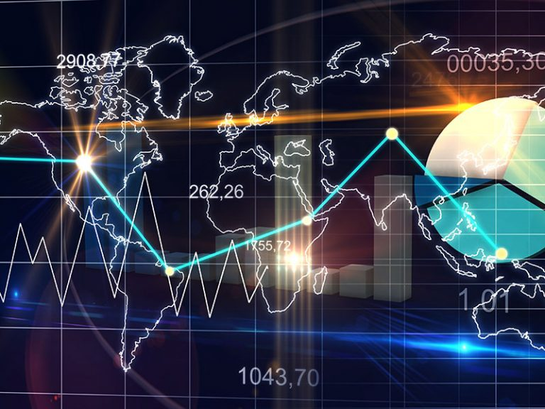 World Map Statistic Data Graph Dark Blue Finance Background 3D