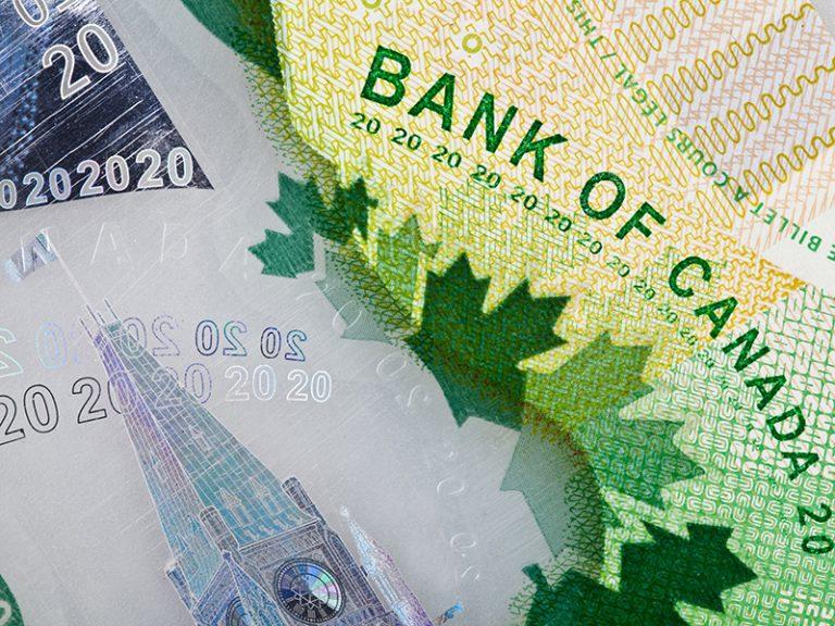 Extreme Closeup of New Polymer Twenty Dollar Bills