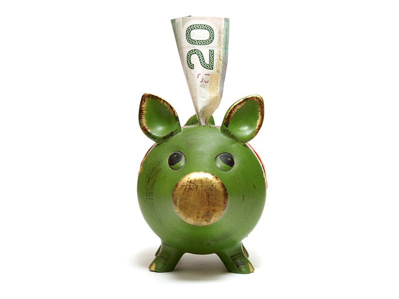A piggy bank with a twenty dollar bill for the money saving mind set.