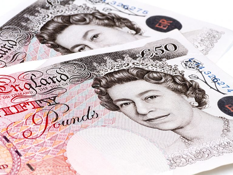 British pounds isolated on a white background.
