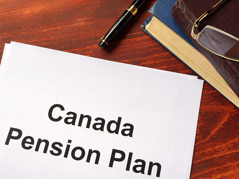 Canada Pension Plan CPP written on a sheet on an office table