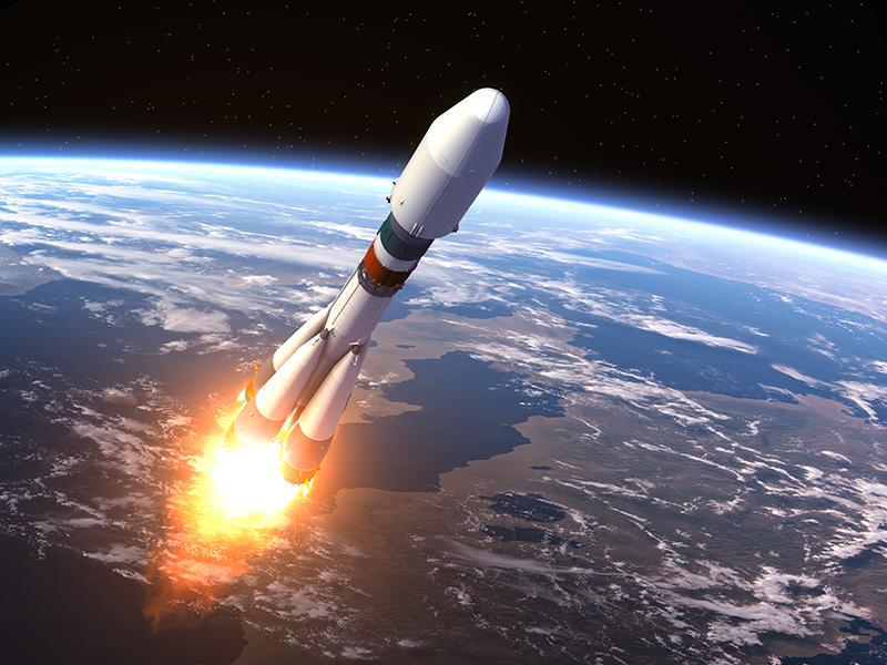 Heavy Carrier Rocket Launch. Realistic 3D Scene.