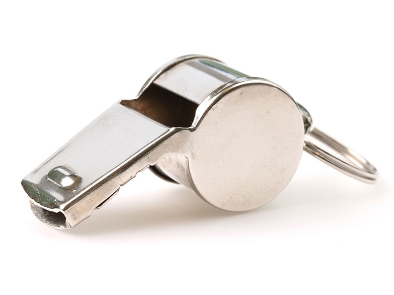 Silver referee whistle