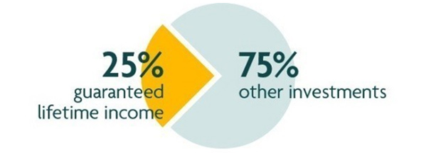 25% guranteed lifetime income 75% other income