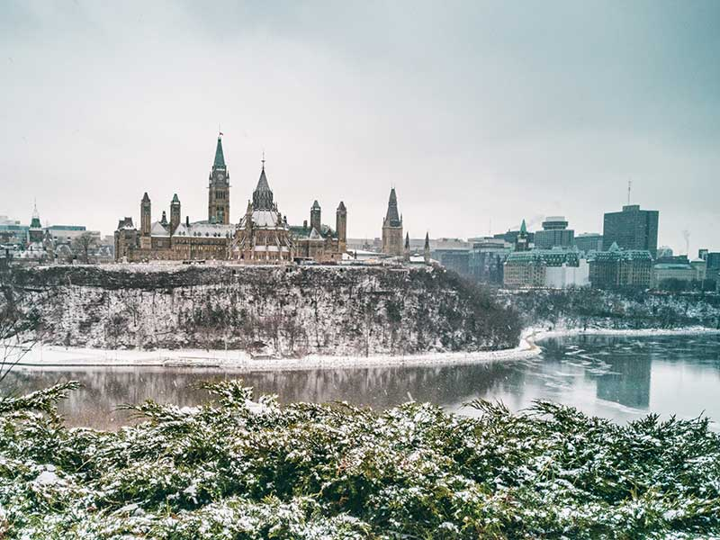 Parliament buildings in winter