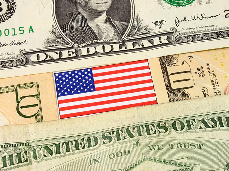 American flag and monetary bills