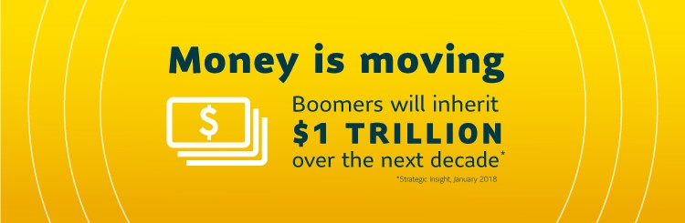 Money is moving Boomers will inherit $ 1 trillion over the next decade