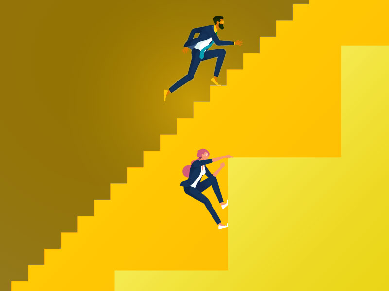 man and woman running up easy and difficult staircases