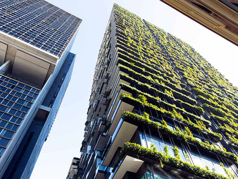 Apartment building with vertical garden